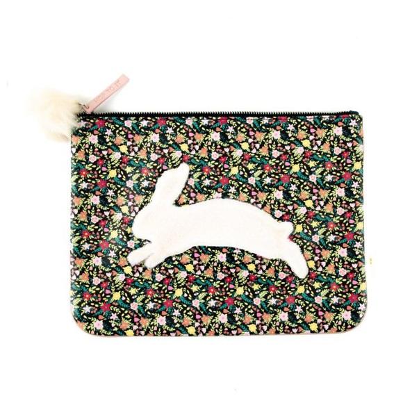 Paper Destiny Handbags - Paper Destiny Floral Bunny Large Zip Pouch